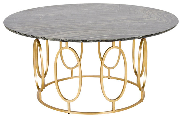 Worlds Away Gold Leaf Ovals Coffee Table Caleb Gb Contemporary Coffee Tables By Benjamin