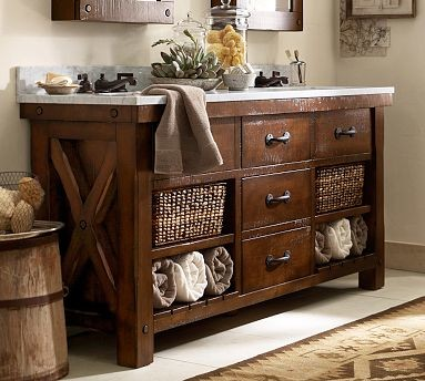 Benchwright Double Sink Console Rustic Mahogany Stain Rustic Bathroom Va