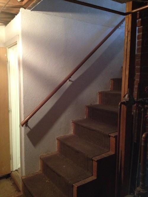 help help dark basement stairs. Black Bedroom Furniture Sets. Home Design Ideas