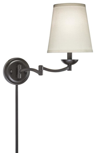 in bronze wall lamp with linen shade contemporary swing arm wall lamps. Black Bedroom Furniture Sets. Home Design Ideas