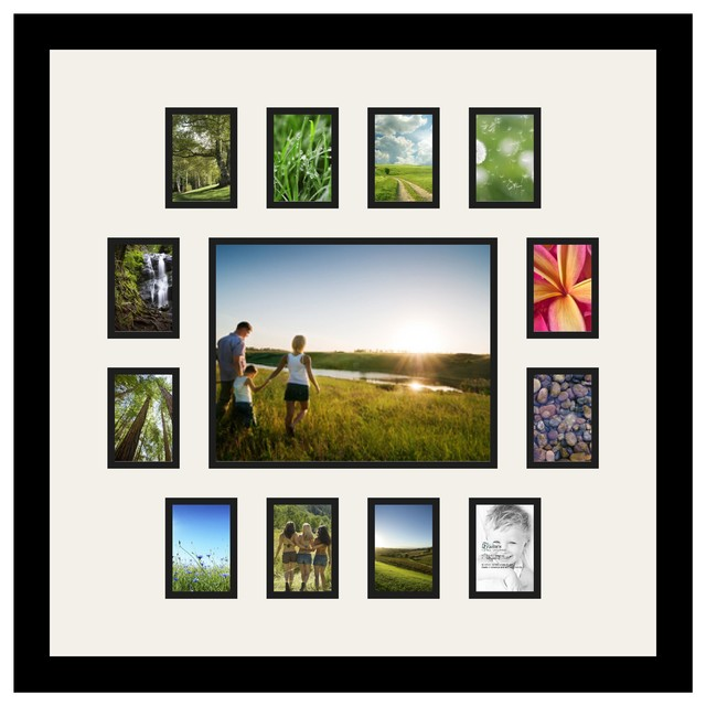 Arttoframes collage photo frame with 13 openings and satin for Modern collage frame