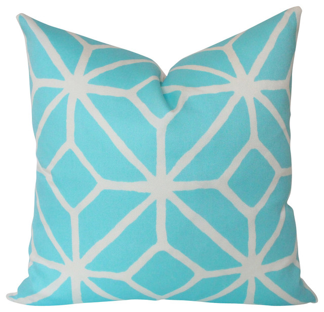 Pool Blue Throw Pillows : Pool Blue Geometric Outdoor Pillow Cover with Schiumacher Trellis Design contemporary-decorative ...