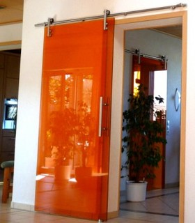 Modern barn door hardware for glass door moderno for Herrajes puerta granero