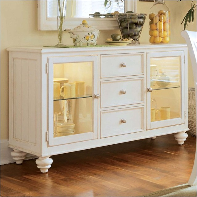 American Drew Camden Antique White China Buffet Credenza - Traditional - Buffets And Sideboards ...