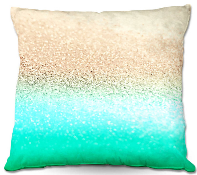 All Modern Outdoor Pillows : DiaNoche Outdoor Pillows Gatsby Aqua Ombre Gold - Contemporary - Outdoor Cushions And Pillows