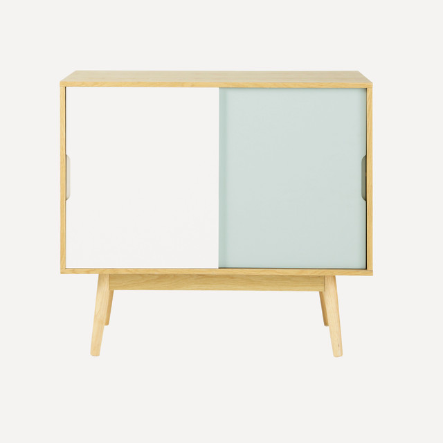 buffet vintage en bois blanc et bleu l 90 cm fjord. Black Bedroom Furniture Sets. Home Design Ideas