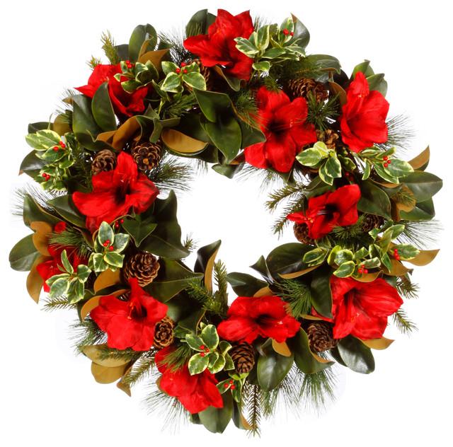 Amaryllis holly wreath traditional wreaths and for Amaryllis christmas decoration