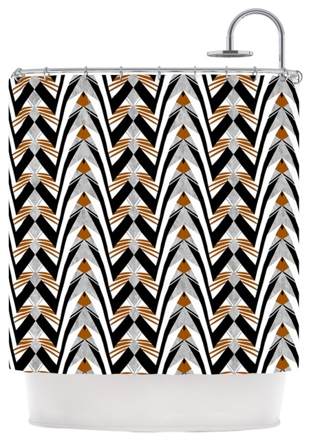 Vikki Salmela Wings Orange Gray Shower Curtain Contemporary S