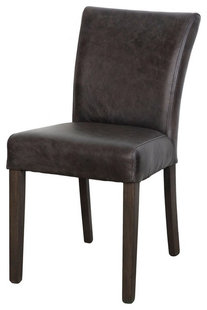 Antique Dark Brown Top Grain Leather Dining Chair - Transitional - Dining Chairs - by ARTEFAC