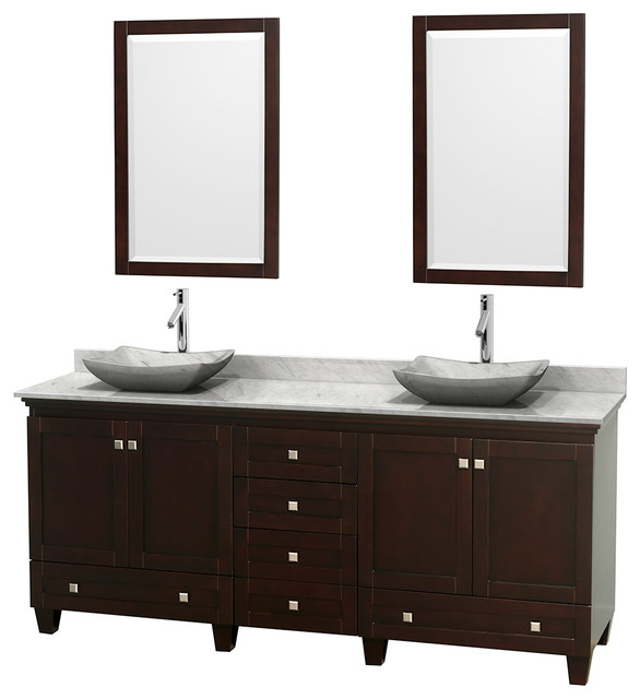 80 acclaim double vanity white carrera marble top white for Marble top console sink