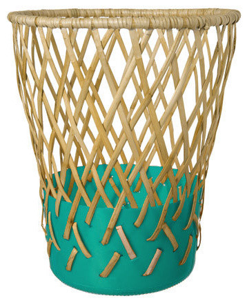 Areaware bow bin teal eclectic wastebaskets by for Teal bathroom bin