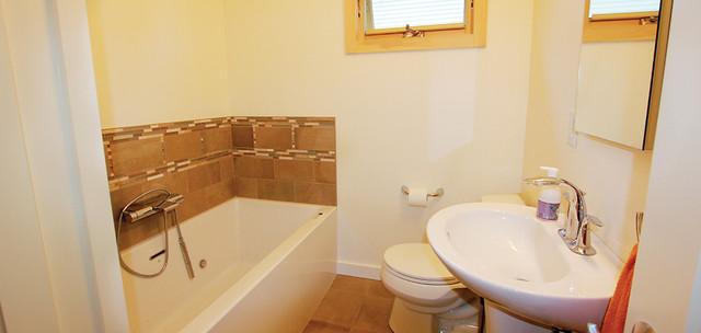 Ranch remodel burlington for Modern ranch bathroom