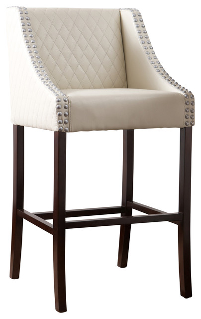 Filton Quilted Leather Counter Stool Ivory Contemporary