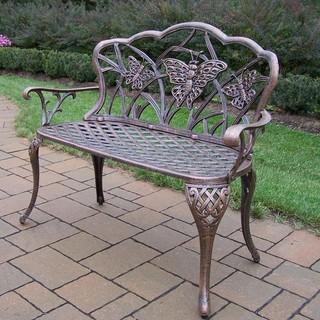 Oakland Living Butterfly Cast Aluminum Patio Bench Antique Bronze Modern