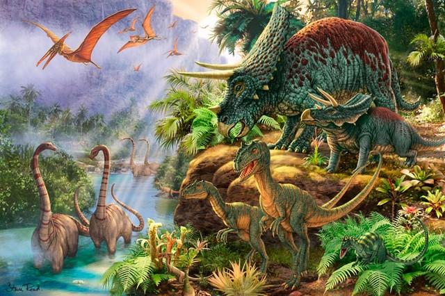 Dinosaur valley vinyl wall decal wall mural for Dinosaur mural wallpaper