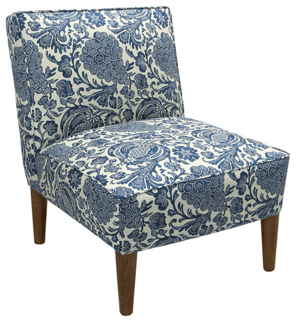 Made To Order Blue Cream Floral Armless Chair