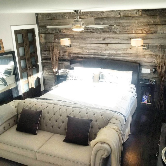 Barn board feature walls contemporary toronto by for Grey feature wallpaper bedroom