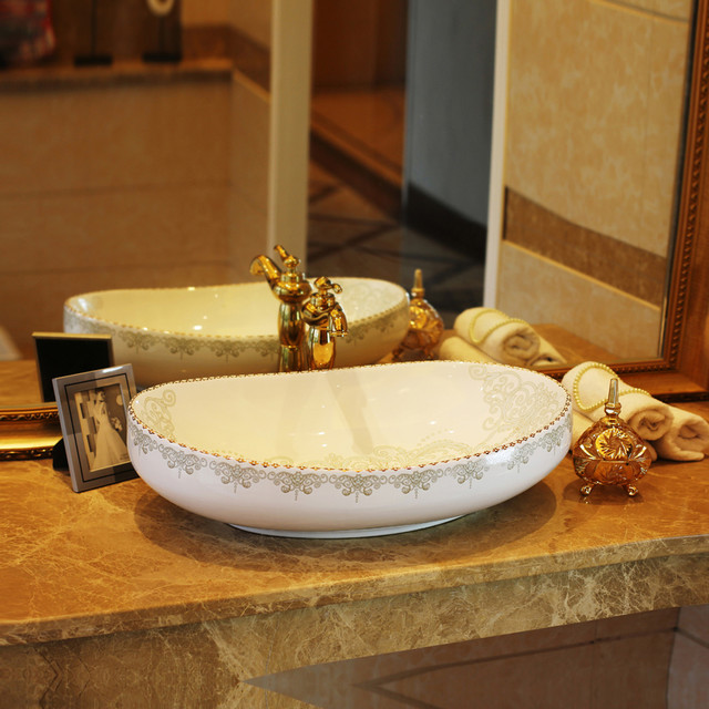 European Bathroom Sinks: European Style Palace Ceramic Above Counter Sink