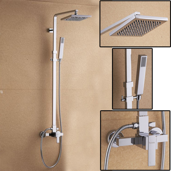 Square Design Wall Mount Single Handle Rain Mixer Shower