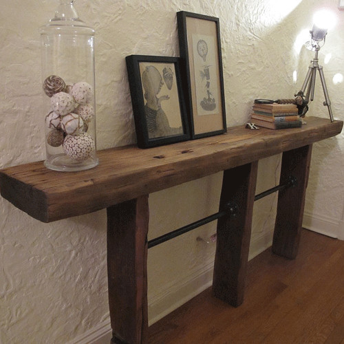 Rustic industrial reclaimed wood pipe console table for Rustic pipe table