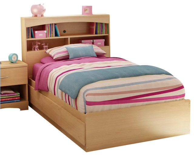 South shore shiloh kids twin bookcase storage bed set in - Contemporary maple bedroom furniture ...
