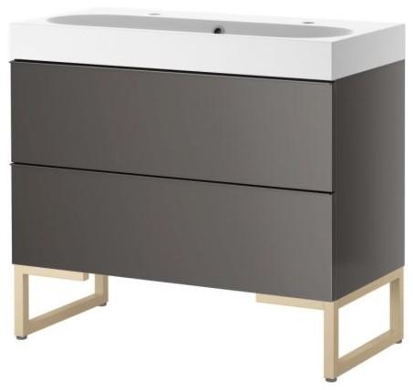 Godmorgon Br Viken Sink Cabinet With Two Drawers Gray Birch Scandinavian Bathroom Vanities