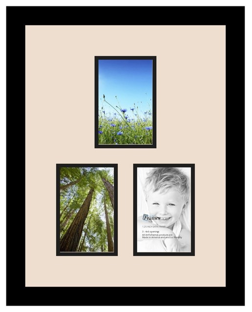 Arttoframes collage photo frame with 3 4x6 openings for Modern collage frame