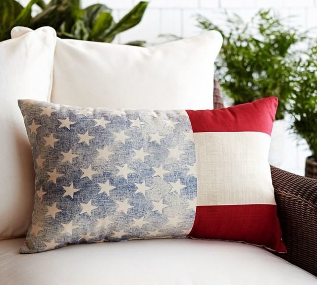 Decorative Outdoor Lumbar Pillows : American Flag Indoor/Outdoor Lumbar Pillow - Contemporary - Decorative Pillows - sacramento - by ...