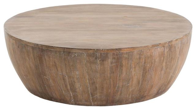 Hubert Rustic Lodge Whitewashed Wood Coffee Table