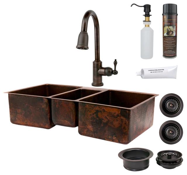 """Rustic Kitchen Sink: 42"""" Kitchen Triple Basin Sink W/ ORB Faucet"""