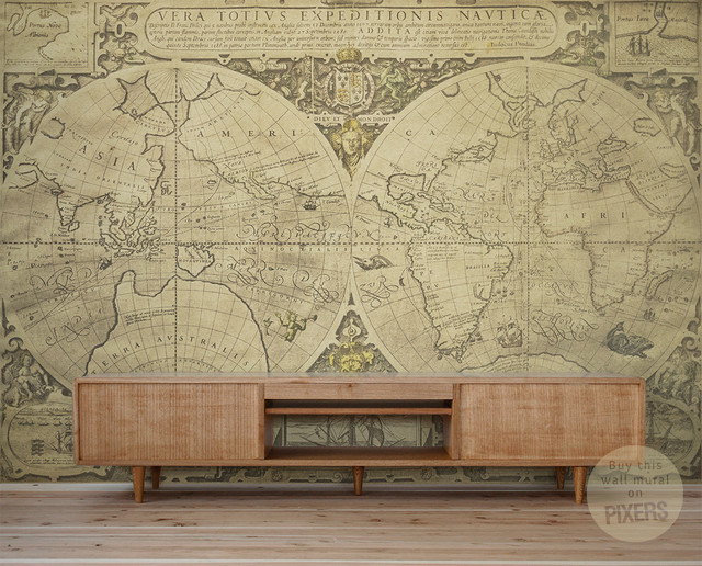 Vintage world map wall mural by pixers eclectic for Antique world map wall mural