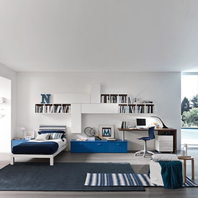 Boy 39 S Bedroom Study Furniture Set White Blue Made In Italy Contemporary