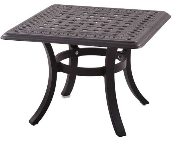 Darlee Series 88 Cast Aluminum Patio End Table - Antique Bronze - Modern - Outdoor Side Tables ...