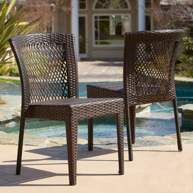 Christopher Knight Home Dusk Outdoor Wicker Chairs Set of 2 Contemporary
