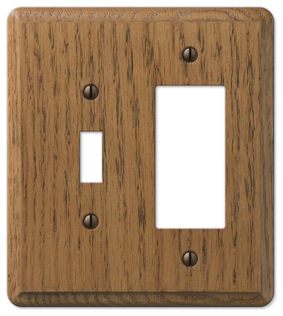 Contemporary medium oak wood toggle rocker