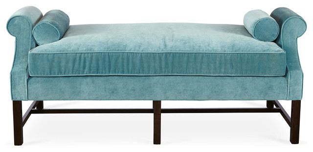 Anne day chaise calypso blue velvet contemporary for Blue chaise lounge indoor