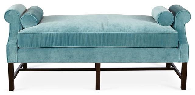 Anne day chaise calypso blue velvet contemporary for Blue velvet chaise lounge