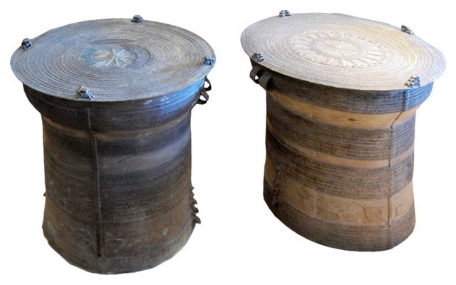 Fantastic Large 19th Century Bronze Rain Drums Eclectic Side Tables And End Tables Los