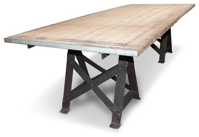 "Frinier Industrial Loft Iron Reclaimed Wood Large Dining Table - 107"" - Industriale - Tavoli da ..."