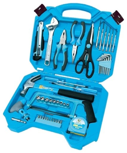 59 piece basic household tool set in blue box modern hand tools and tool sets - Household tools ...