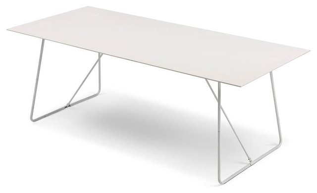 White Metal Garden Side Table: Pacific Table, Ceramic White/White Metal