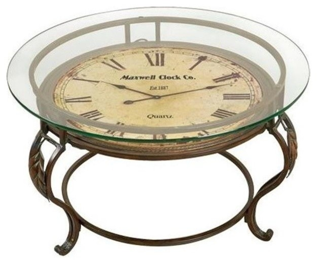 Cocktail Table With Clock Traditional Side Tables And