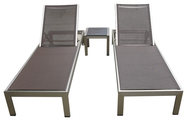 Outdoor aluminum textilene 3 piece pool lounge set for Chaise longue textilene