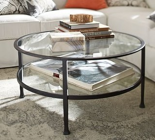 Tanner Metal Glass Round Coffee Table Matte Iron Bronze Finish Traditional Coffee Tables