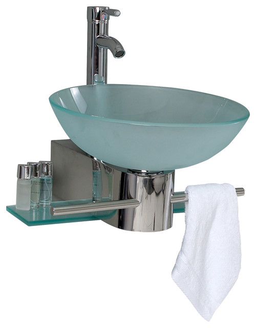 Glass Sink Unit : Glass Vanity w/ Frosted Sink - Modern - Bathroom Vanity Units & Sink ...