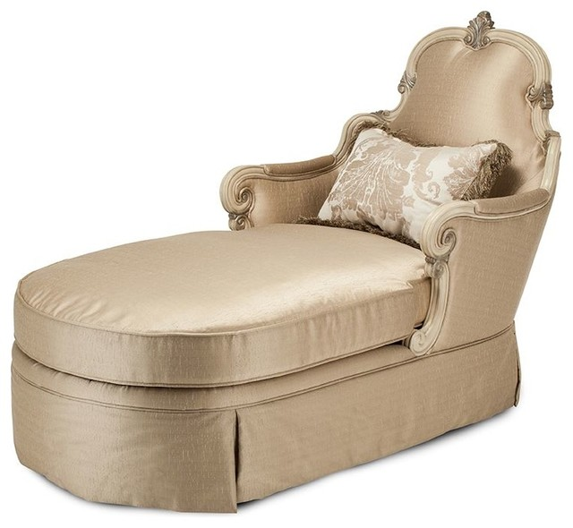 Aico michael amini platine de royale wood trim chaise for Aico chaise lounge