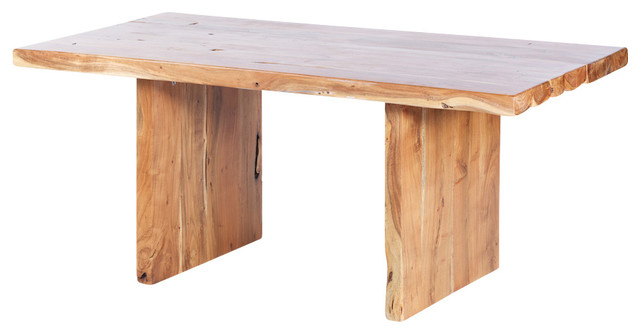 "Straight Cut Acacia Dining Table with Wood Legs, Natural, 70"" X 36"" X 30"" - Dining Tables - by ..."