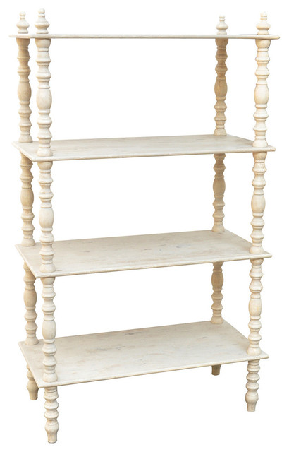 Lyndsay Antique Style Etagere Whitewash 60 Quot Traditional Display And Wall Shelves By Zeckos
