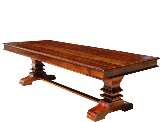 Trestle pedestal large wood transitional rectangular Rustic wood dining table