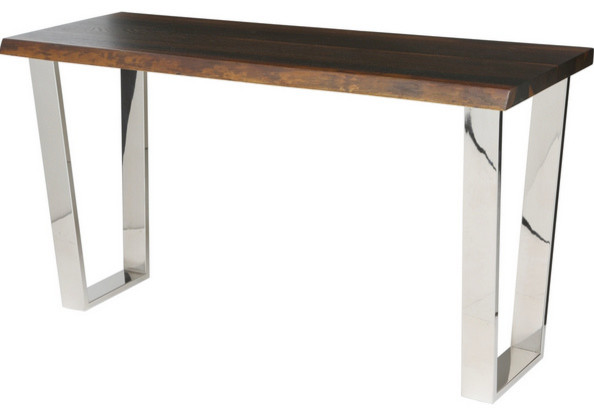 Nuevo Versaille Polished Stainless Steel And Oak Console